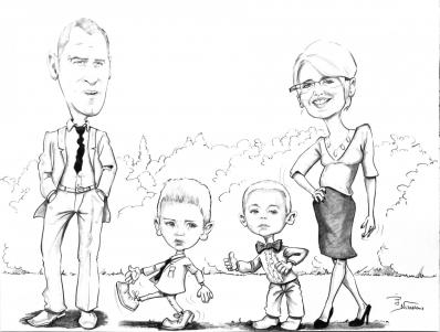 Caricature famille mariage