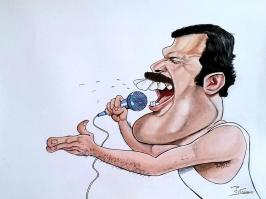 Caricature freddy mercury