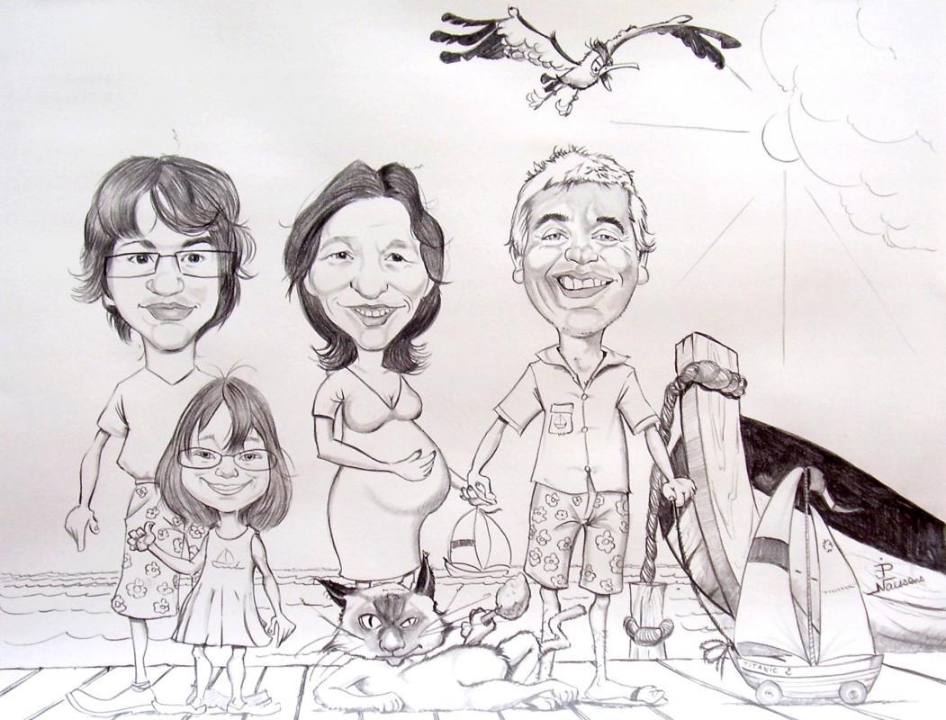 Caricatures famille vacances